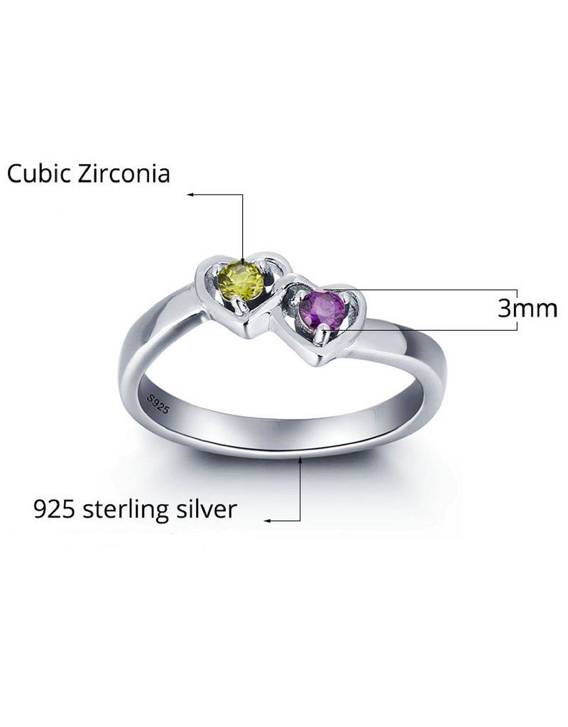 KAYA jewellery Birthstone ring with engraving '2 hearts'