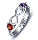 KAYA jewellery Sterling silver ring with 2 birthstones 'infinity'