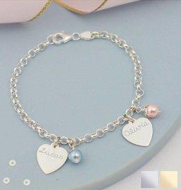 KAYA jewellery Sterling silver bracelet 'jasseron' 2 charms & pearls