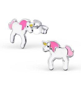KAYA jewellery Kids Silver Earrings 'pink unicorn'