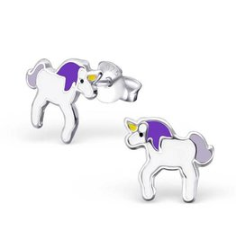 KAYA jewellery Kids Silver Earrings 'Purple unicorn'