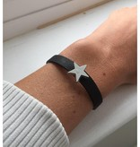 KAYA jewellery Leather look bracelet with personalized charm 'you are my star'