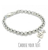 KAYA jewellery Silver Chain Bracelet 'choose you own text' with pearl
