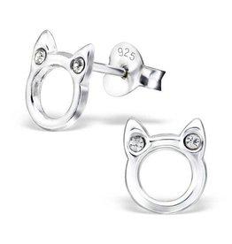 KAYA jewellery Silver earrings 'cute cat' with Zirconia stones