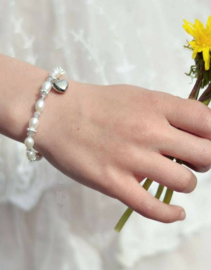 KAYA jewellery Beautiful Mum & Me Bracelet 'Infinity White' with Heart Charm