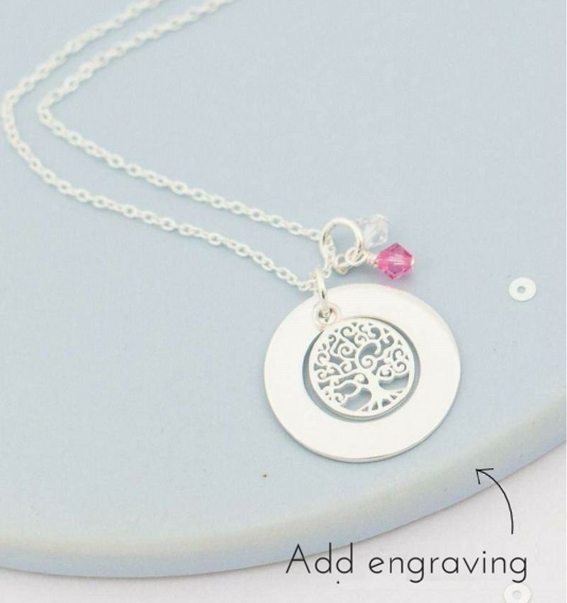 KAYA jewellery Silver necklace with birthstones 'tree of life'