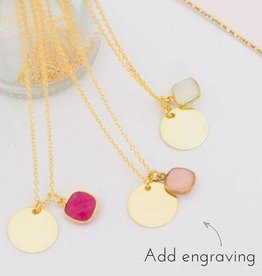 KAYA jewellery Gold plated necklace 'engrave disc & gemstone'
