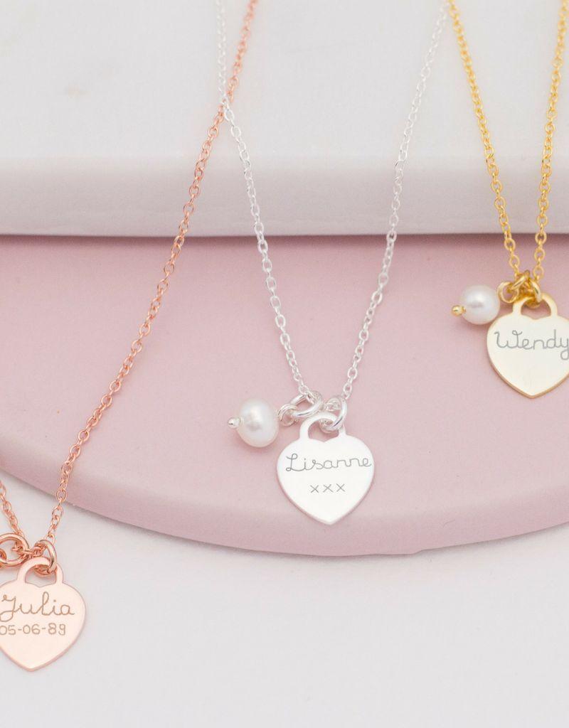 KAYA jewellery Silver Necklace 'Handwriting' heart 11 x 12 mm