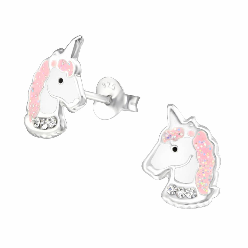 KAYA jewellery Silver earrings 'Unicorn with crystals'