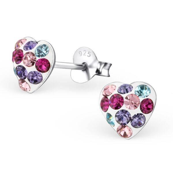 KAYA jewellery 'Cute Silver Colorful Heart' Stud Earrings