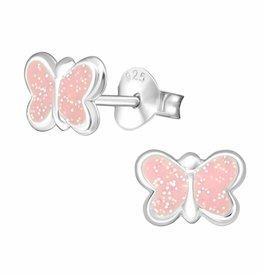 KAYA jewellery 'Pink Sparkle Butterfly' Stud Earring
