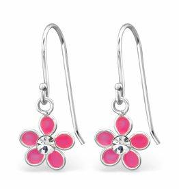KAYA jewellery 'Pink Flower With Crystal' Earrings