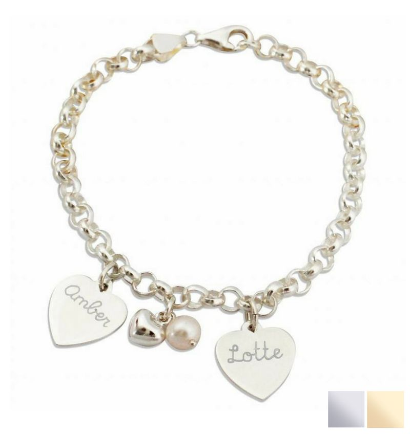 KAYA jewellery Silver Bracelet 'Chain' with 2 Engraved Charms