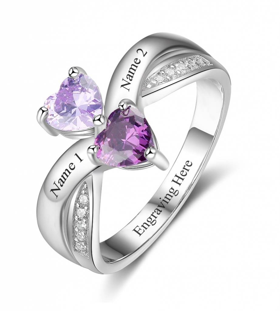 KAYA jewellery Ring with 2 birthstones 'Forever Hearts'