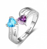 KAYA jewellery Ring with 2 birthstones 'Always Together'