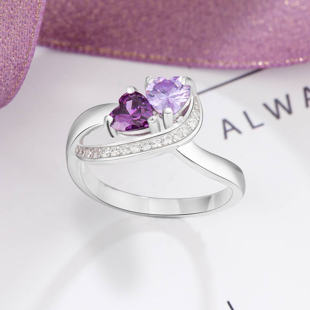 KAYA jewellery Ring with 2 birthstones 'With Love'