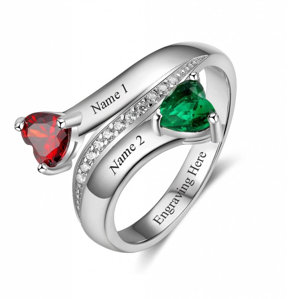 KAYA jewellery Ring with 2 birthstones 'All My Love'