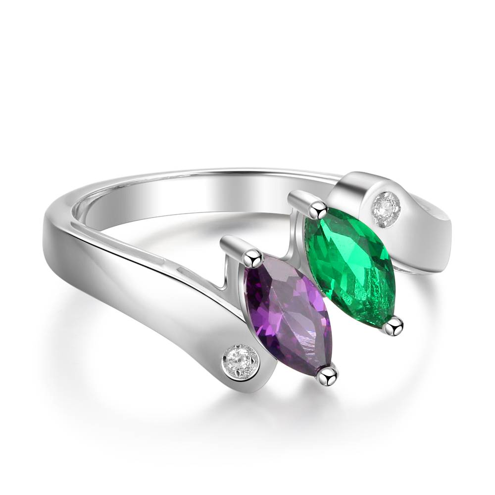 KAYA jewellery Ring with 2 birthstones 'Beauty'