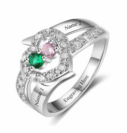 KAYA jewellery Ring with 2 birthstones 'Wonderful Love'