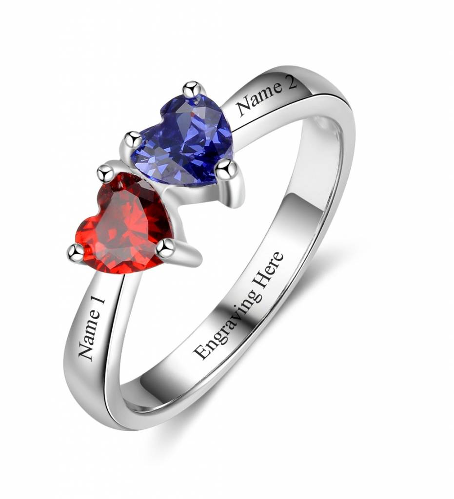 KAYA jewellery Ring with 2 birthstones 'By My Side'