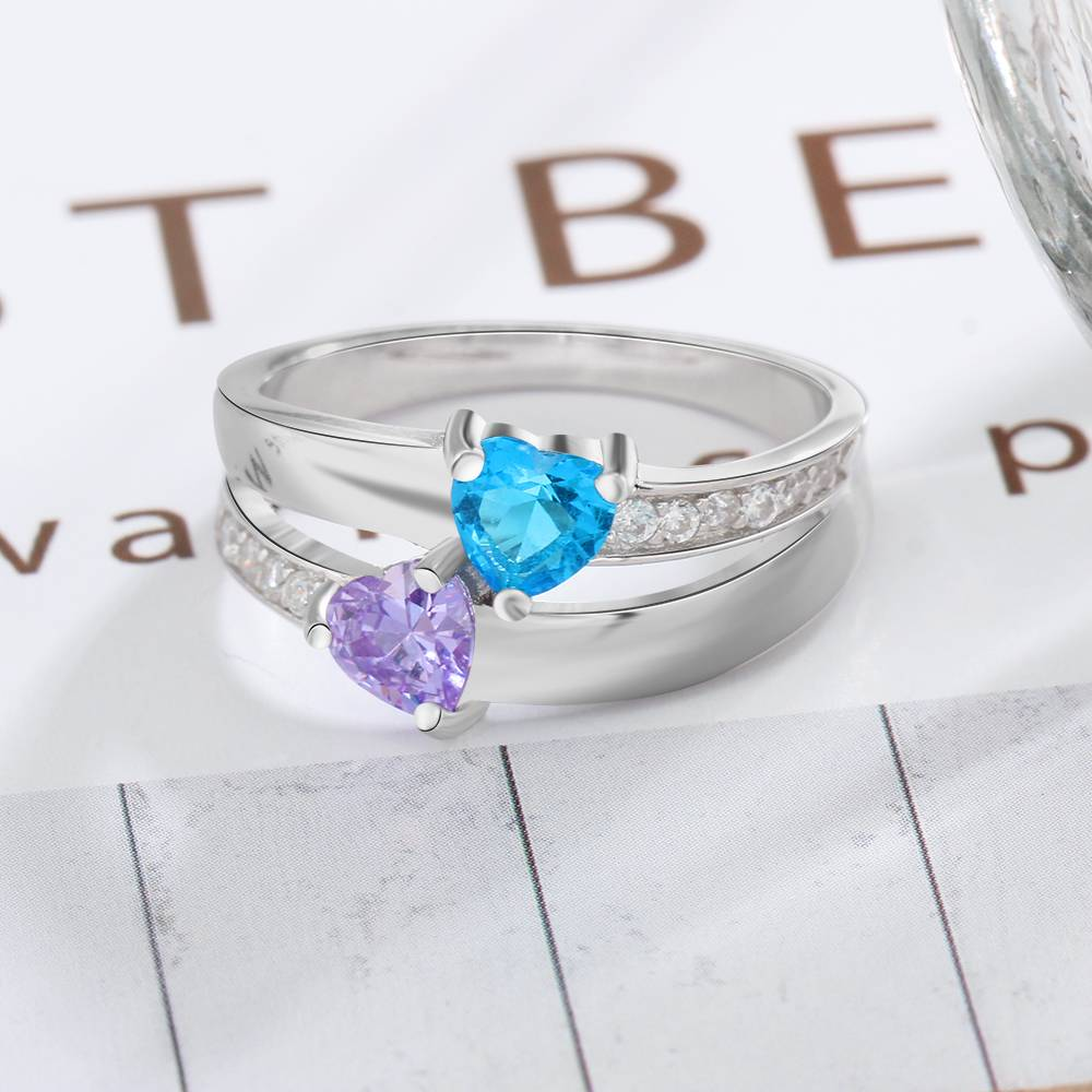 KAYA jewellery Ring with 2 birthstones 'Double Love'