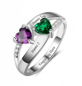 KAYA jewellery Ring with 2 birthstones 'Enchanted'