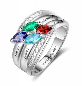 KAYA jewellery Classy birthstone ring 'Stunning Four Stones'