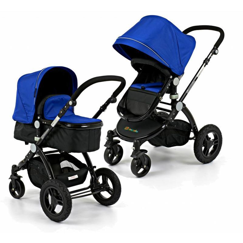 Branssøn Kinderwagen Blauw met Zwart frame en Luchtbanden (5092)