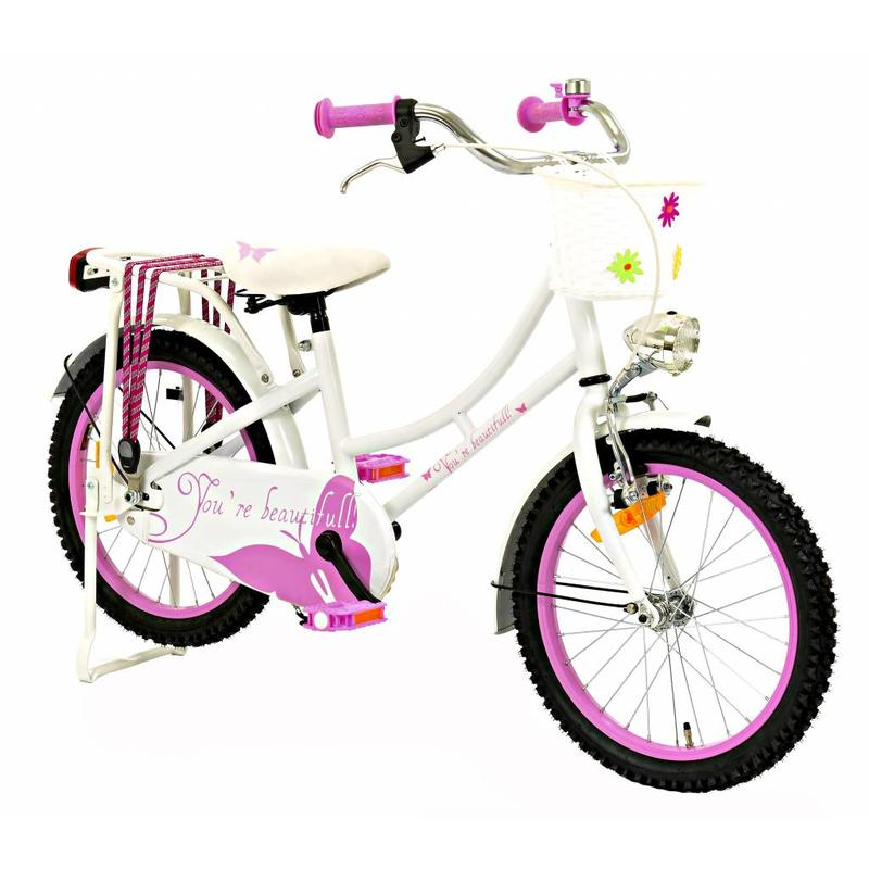 2Cycle Omafiets Vlinder 18 inch wit-roze (1866)