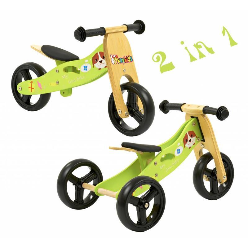 2Cycle Loopfiets-Driewieler Hout 2 in 1 groen (1320)