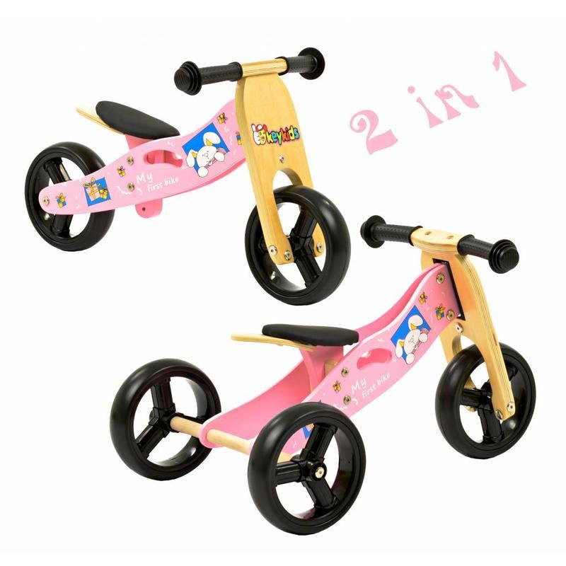 2Cycle Loopfiets-Driewieler Hout 2 in 1 roze (1321)