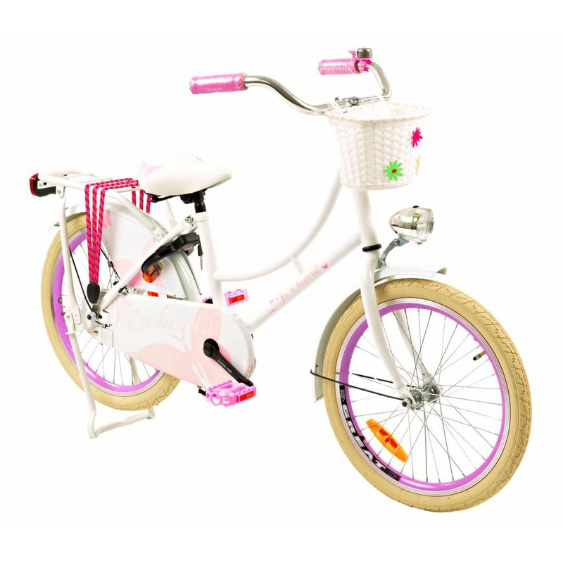 2Cycle Omafiets 20 inch Vlinder wit-roze (2066)