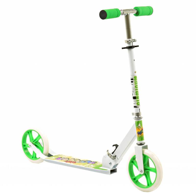 2Cycle Step Aluminium groen-wit Opvouwbaar Met Grote Wielen 20cm (1389)