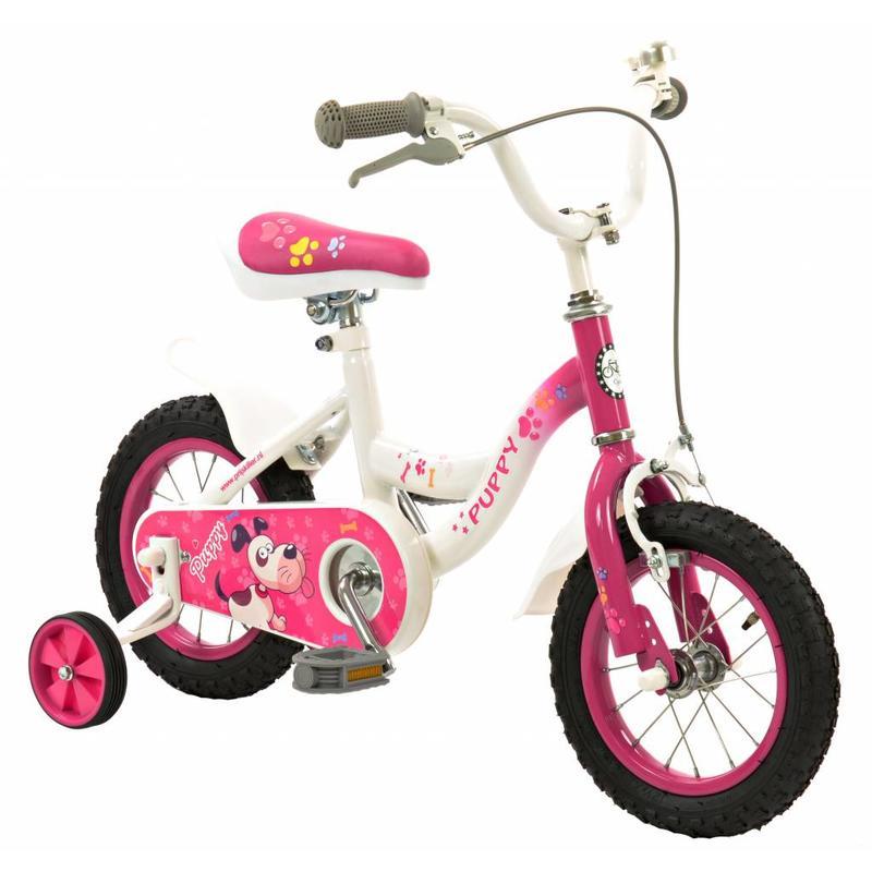 2Cycle Meisjesfiets 12 inch Puppy wit-roze (1232)