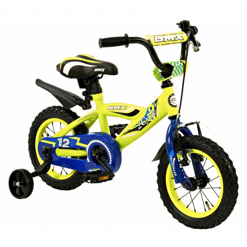 2Cycle Jongensfiets 12 inch BMX blauw-geel (1231)