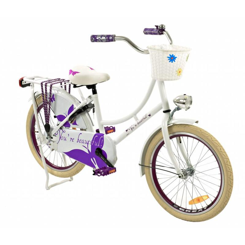 2Cycle Omafiets 20 inch Vlinder Wit-paars (2065)