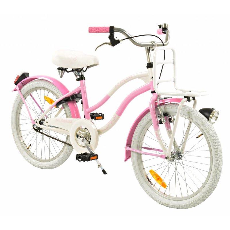 2Cycle Meisjesfiets 20 inch Cruiser Los Angeles Wit-roze (2082)
