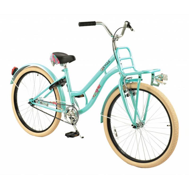 2Cycle Meisjesfiets 24 inch Cruiser Turquoise met Voordrager (2481)