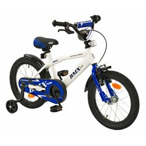 Kinderfiets 16 inch BMX Wit-blauw