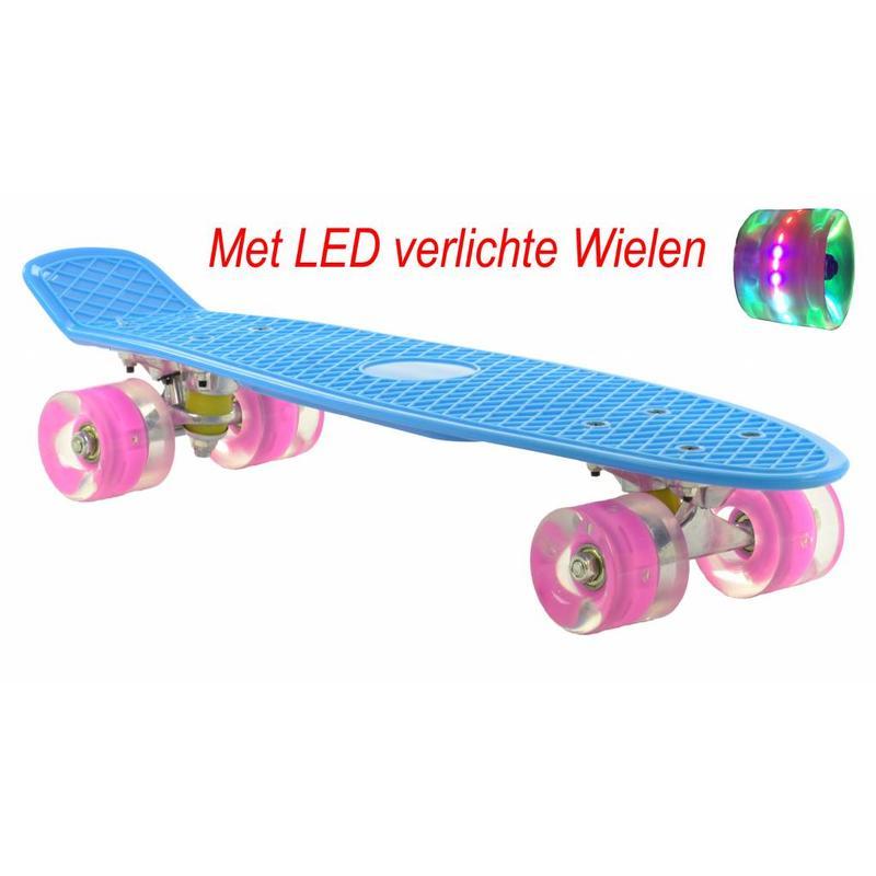 2Cycle Skateboard Blauw-Roze met LED wielen 22.5 inch (3106)