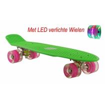 Skateboard Groen-Roze met LED wielen 22.5 inch
