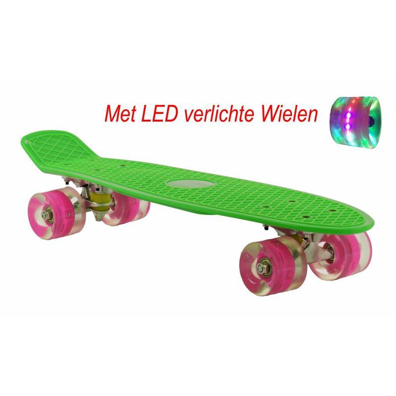 2Cycle Skateboard Groen-Roze met LED wielen 22.5 inch (3109)