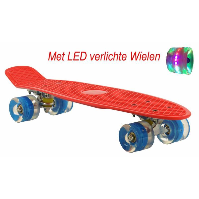 2Cycle Skateboard Rood-Blauw met LED wielen 22.5 inch (3110)