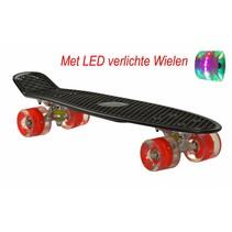 Skateboard Zwart-Rood met LED wielen 22.5 inch