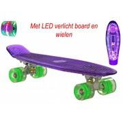 2Cycle Skateboard Paars met LED Board en LED Wielen