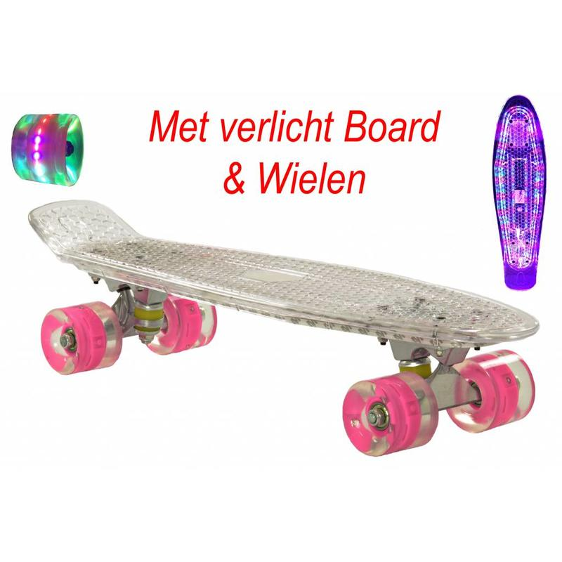 2Cycle Skateboard Transparant met LED Board en LED wielen (3115)