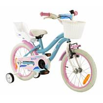 Kinderfiets 16 inch Blauw-Roze met Poppenzitje