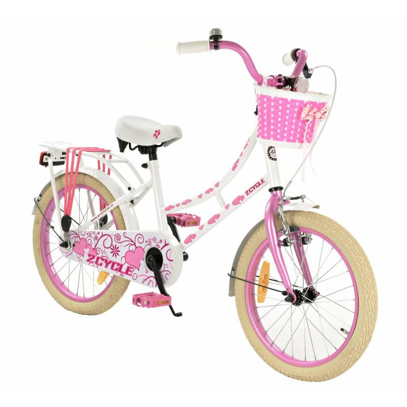 2Cycle Omafiets 18 inch wit-roze (1862)