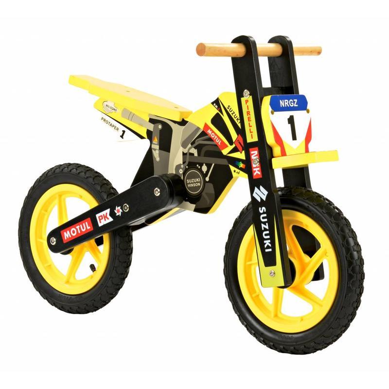 2Cycle Houten Loopfiets Motor Geel (1574)