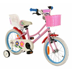 Princess Kinderfiets 16 inch roze-blauw met Poppenzitje